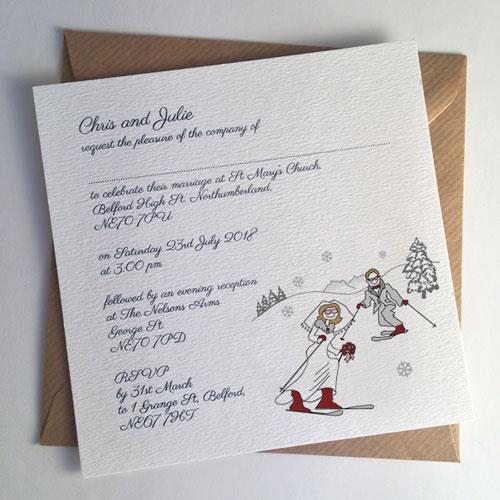 Skiing Wedding Invitation Flat